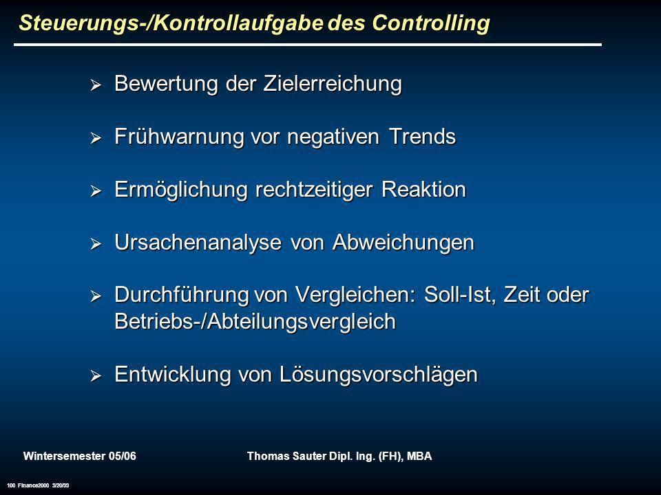 Steuerungs-/Kontrollaufgabe des Controlling