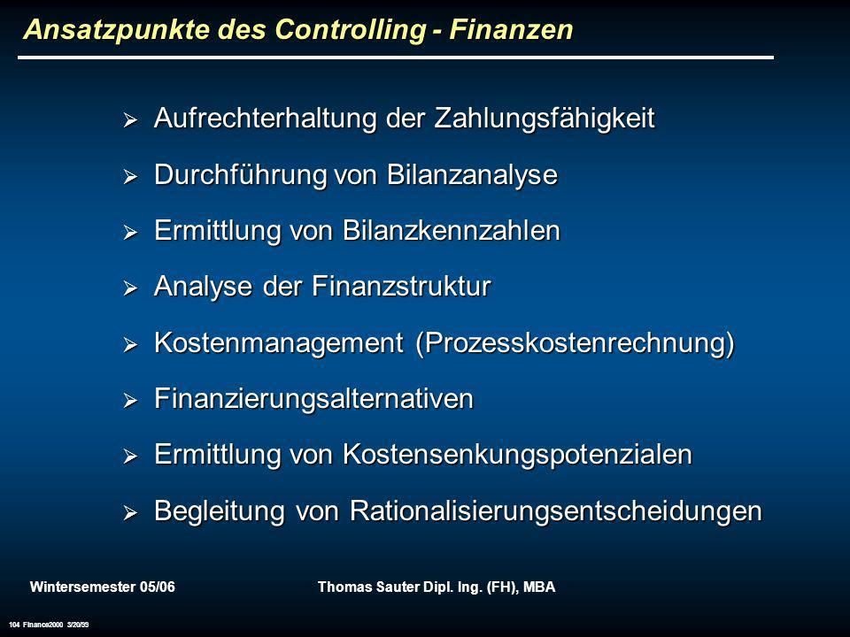 Ansatzpunkte des Controlling - Finanzen