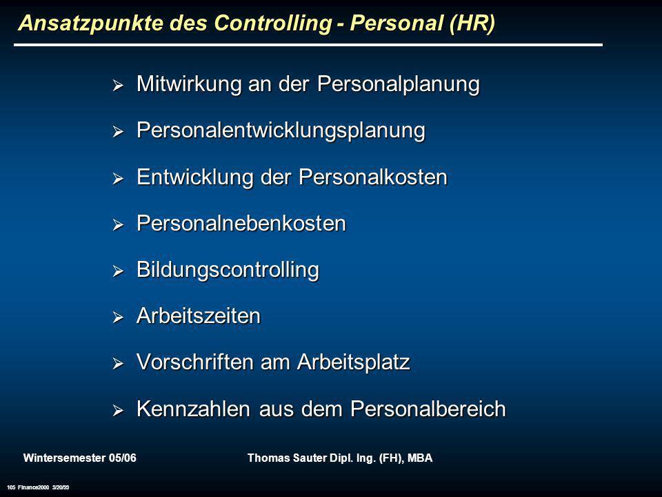 Ansatzpunkte des Controlling - Personal (HR)