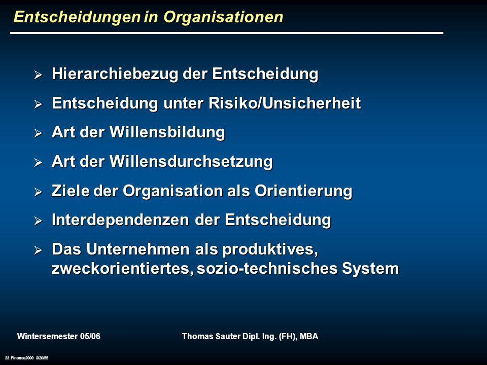 Entscheidungen in Organisationen
