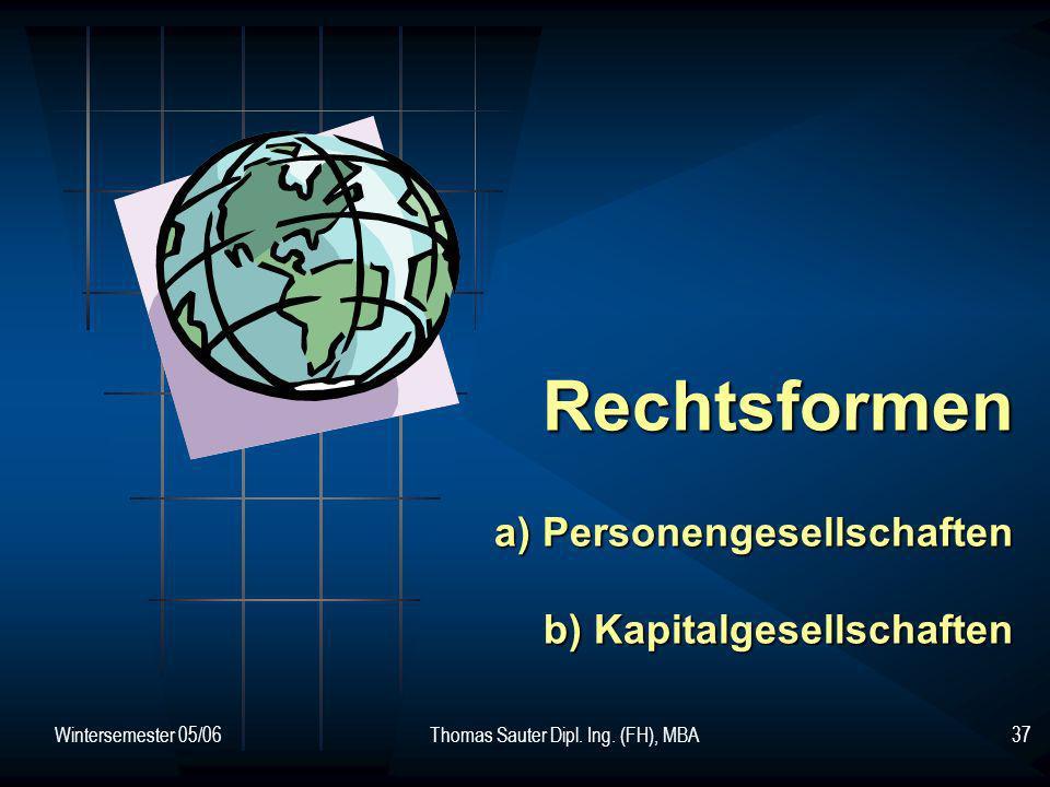 Rechtsformen a) Personengesellschaften b) Kapitalgesellschaften