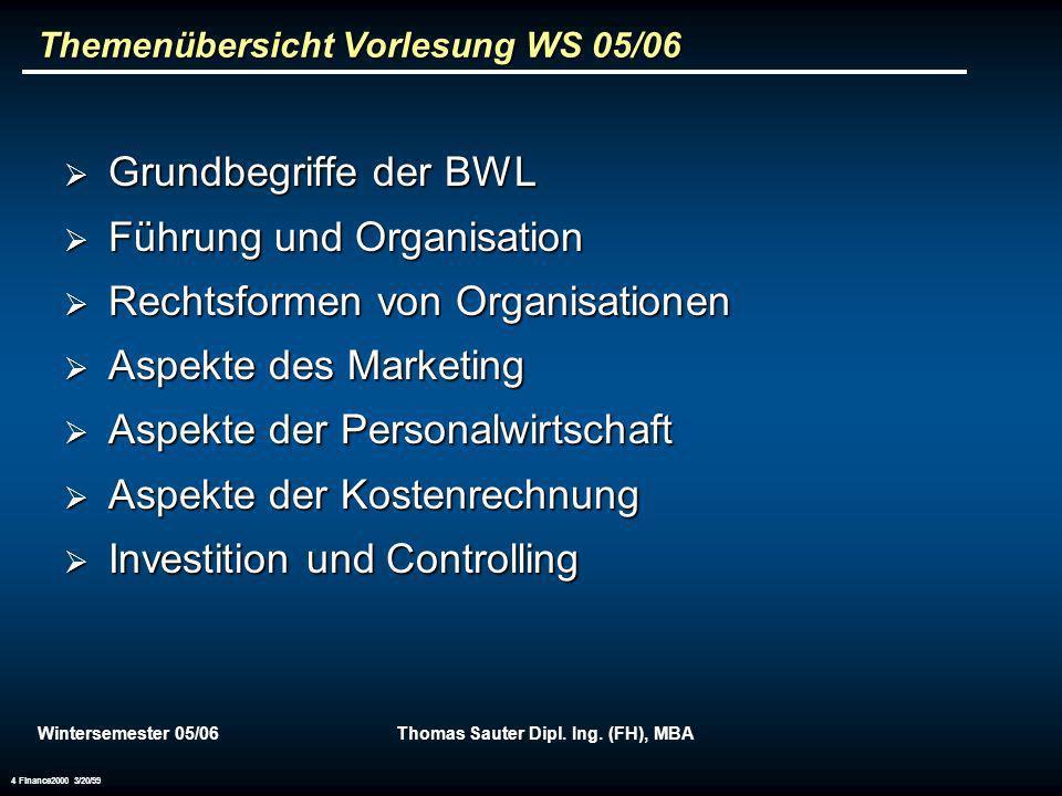 Themenübersicht Vorlesung WS 05/06