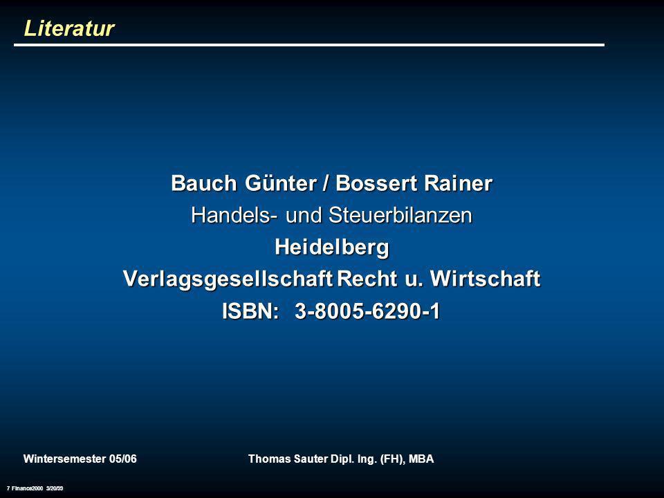 Bauch Günter / Bossert Rainer Handels- und Steuerbilanzen Heidelberg