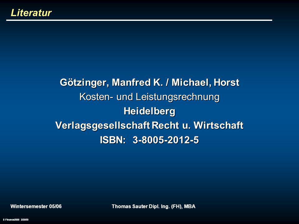 Götzinger, Manfred K. / Michael, Horst Kosten- und Leistungsrechnung