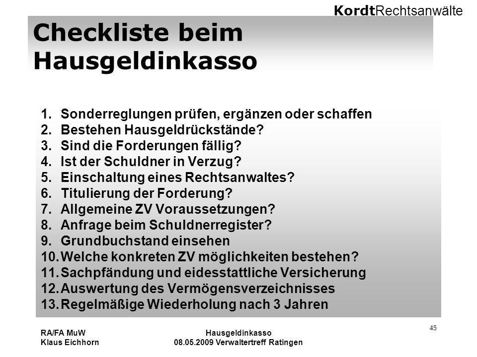 Checkliste beim Hausgeldinkasso