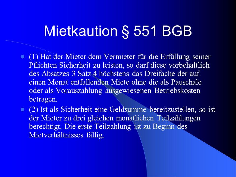 Mietkaution § 551 BGB