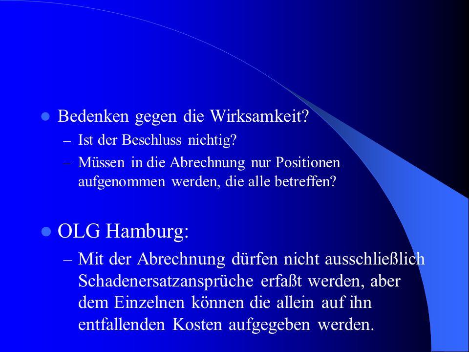 OLG Hamburg: Bedenken gegen die Wirksamkeit