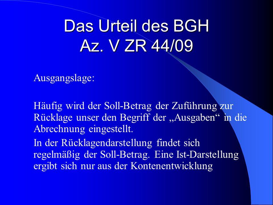 Das Urteil des BGH Az. V ZR 44/09