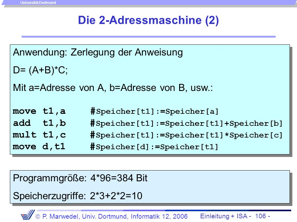 Die 2-Adressmaschine (2)