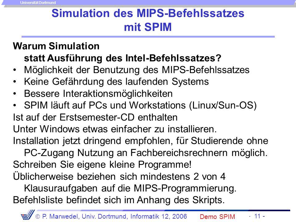 Simulation des MIPS-Befehlssatzes mit SPIM