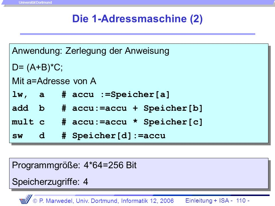 Die 1-Adressmaschine (2)