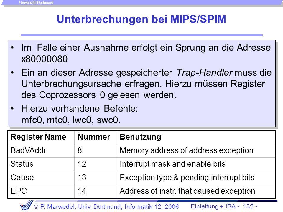Unterbrechungen bei MIPS/SPIM