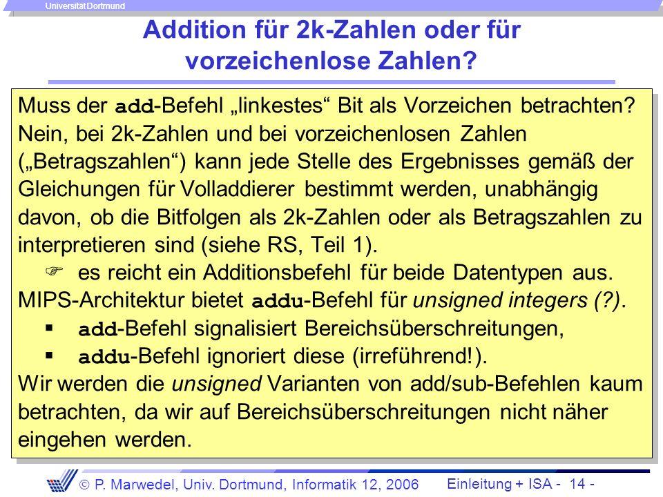 Addition für 2k-Zahlen oder für vorzeichenlose Zahlen