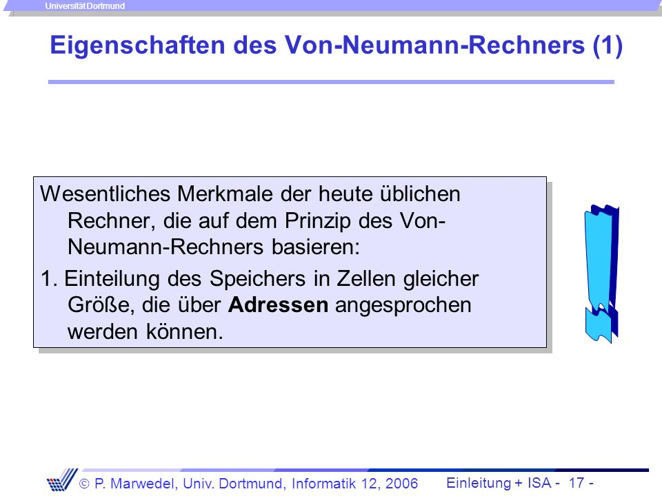 Eigenschaften des Von-Neumann-Rechners (1)