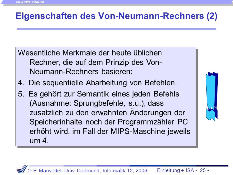 Eigenschaften des Von-Neumann-Rechners (2)