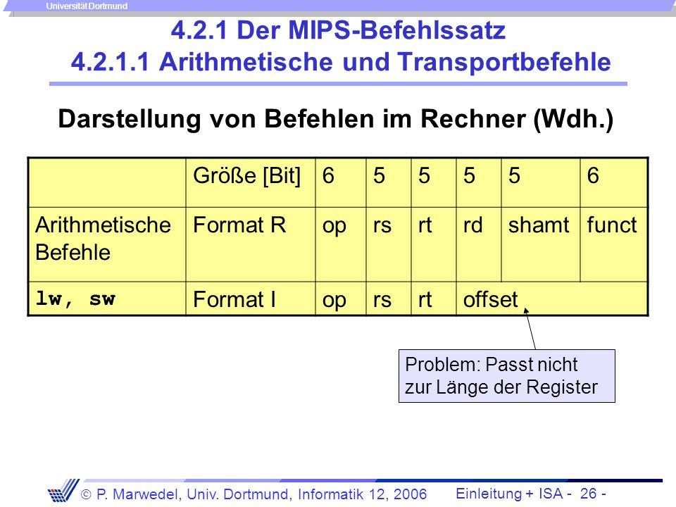 4.2.1 Der MIPS-Befehlssatz 4.2.1.1 Arithmetische und Transportbefehle