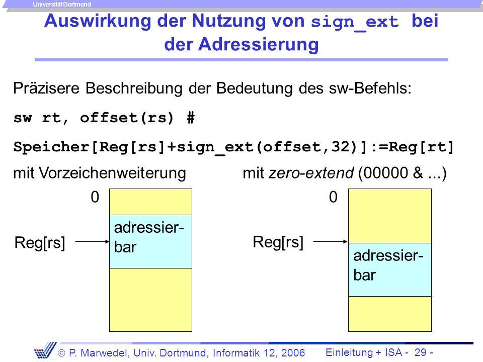 Auswirkung der Nutzung von sign_ext bei der Adressierung