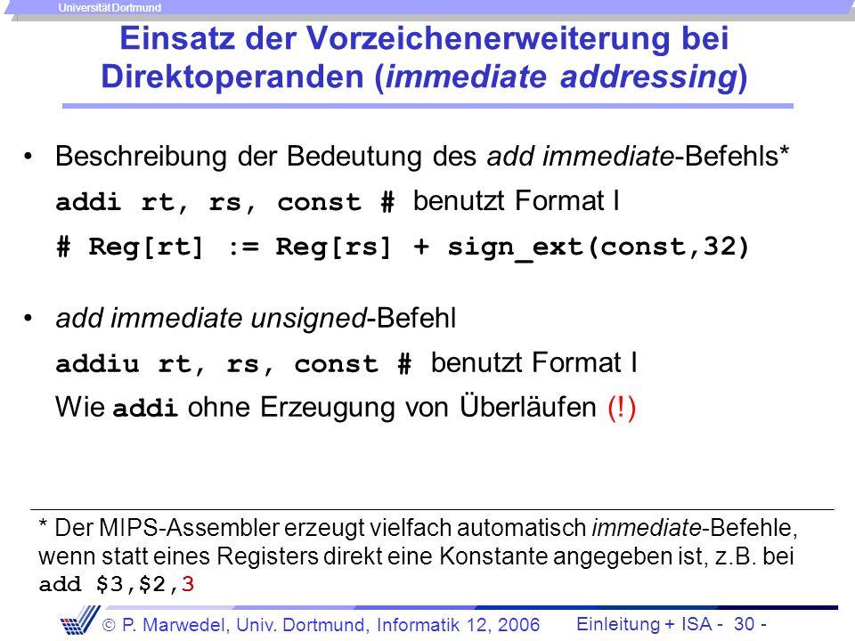 Einsatz der Vorzeichenerweiterung bei Direktoperanden (immediate addressing)