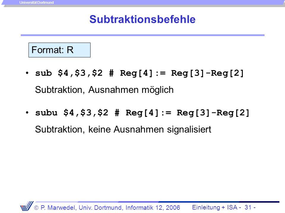 Subtraktionsbefehle Format: R