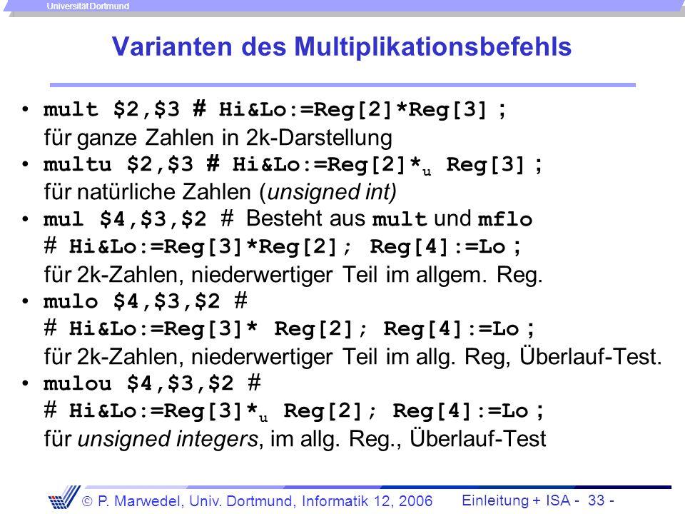 Varianten des Multiplikationsbefehls
