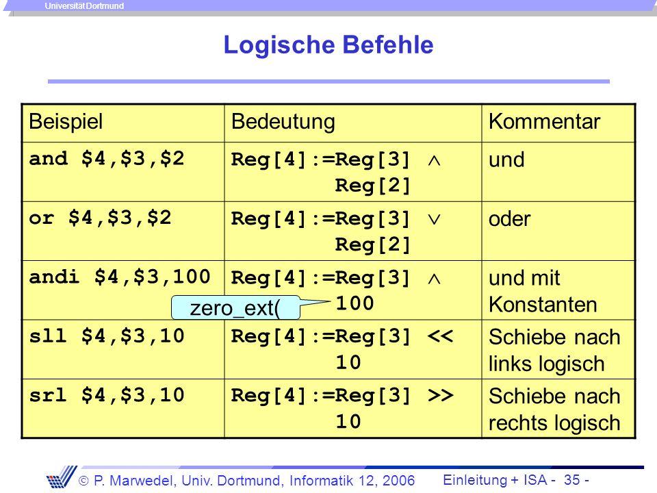 Logische Befehle Beispiel Bedeutung Kommentar and $4,$3,$2