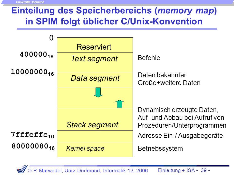 Einteilung des Speicherbereichs (memory map) in SPIM folgt üblicher C/Unix-Konvention