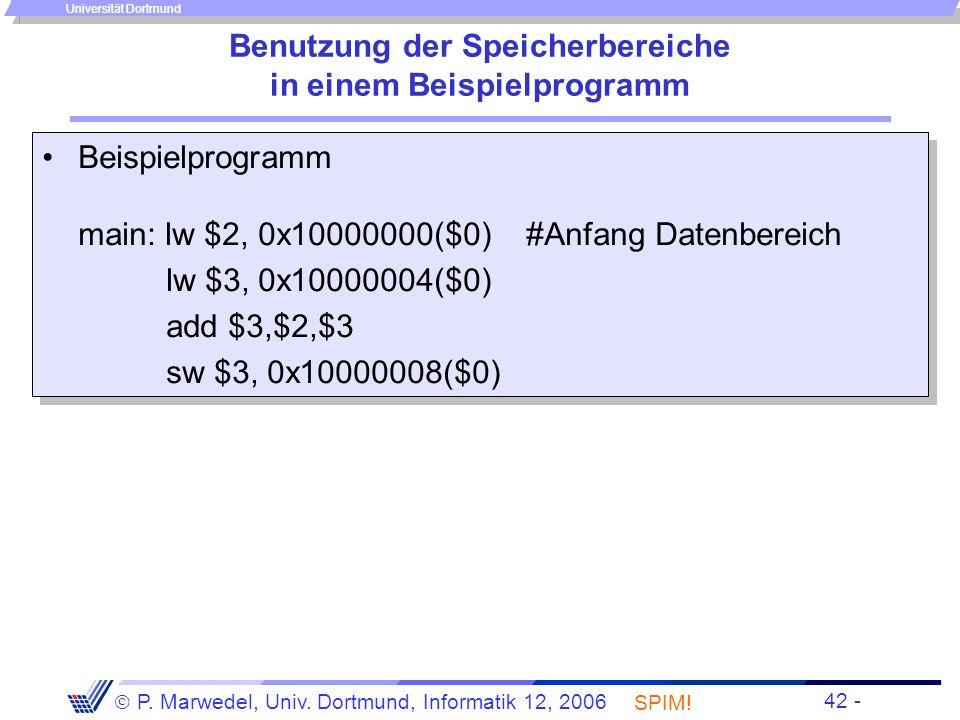 Benutzung der Speicherbereiche in einem Beispielprogramm