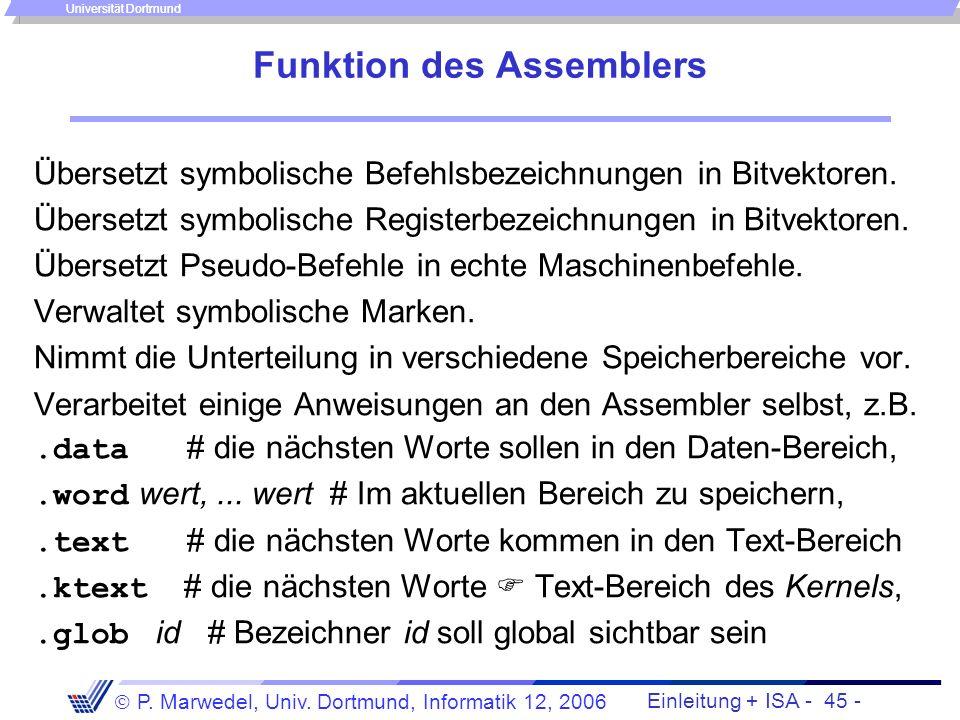 Funktion des Assemblers