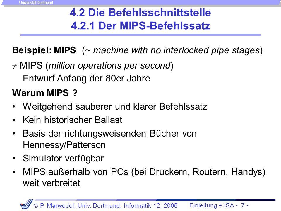 4.2 Die Befehlsschnittstelle 4.2.1 Der MIPS-Befehlssatz