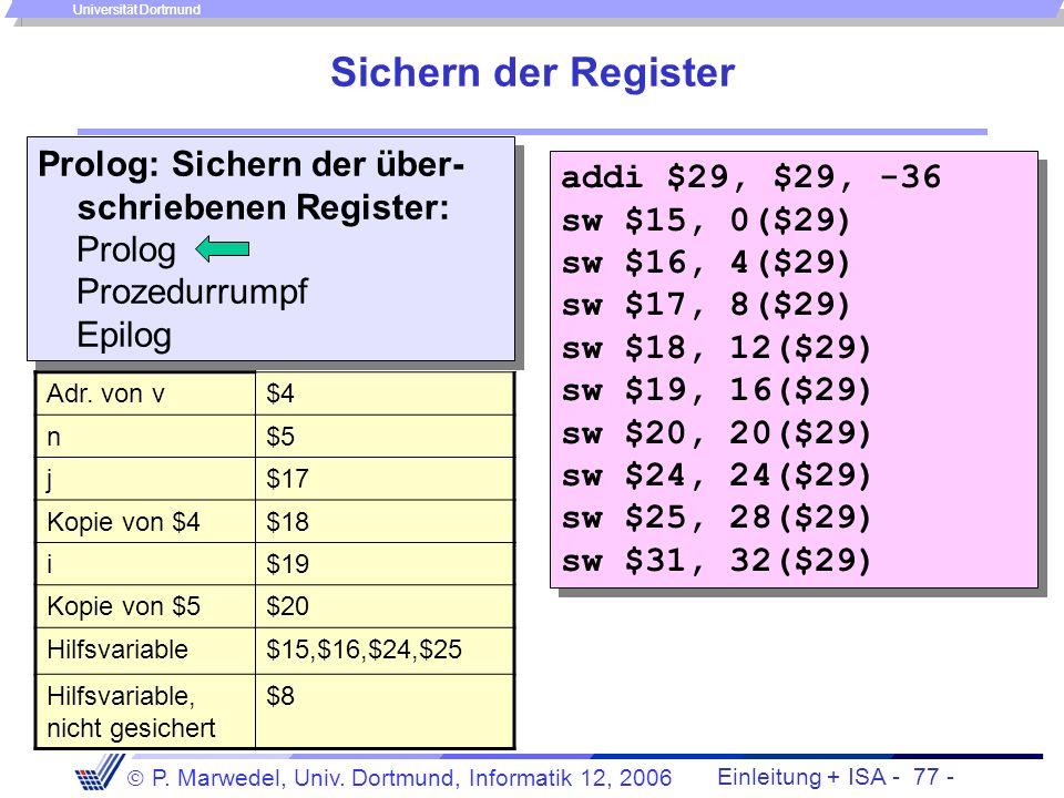Sichern der Register Prolog: Sichern der über-schriebenen Register: