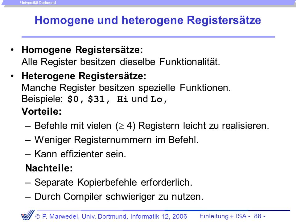 Homogene und heterogene Registersätze
