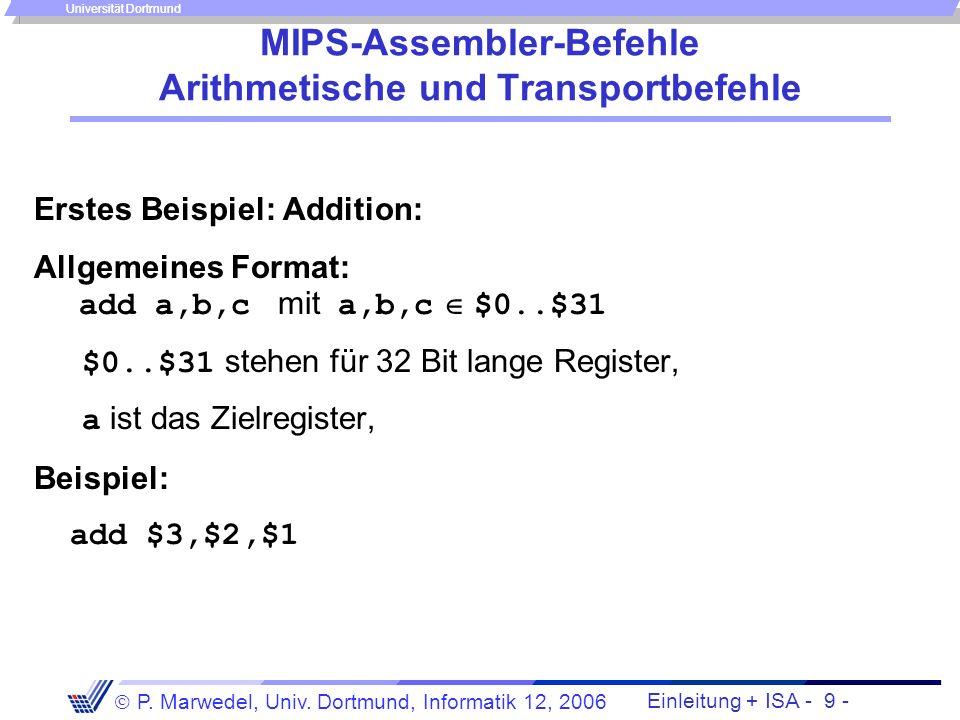 MIPS-Assembler-Befehle Arithmetische und Transportbefehle