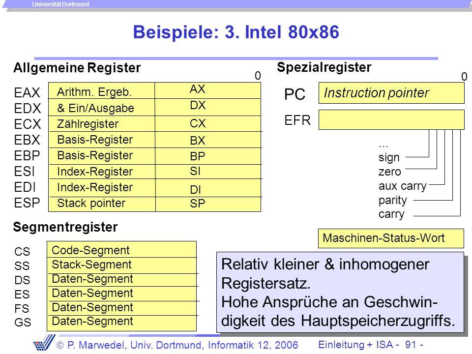 Beispiele: 3. Intel 80x86 Allgemeine Register. Spezialregister. AX. EAX EDX ECX EBX EBP ESI EDI ESP.