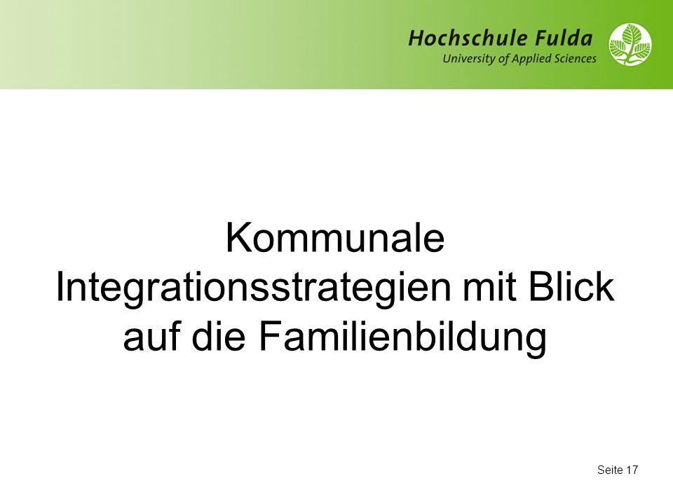 Kommunale Integrationsstrategien mit Blick auf die Familienbildung