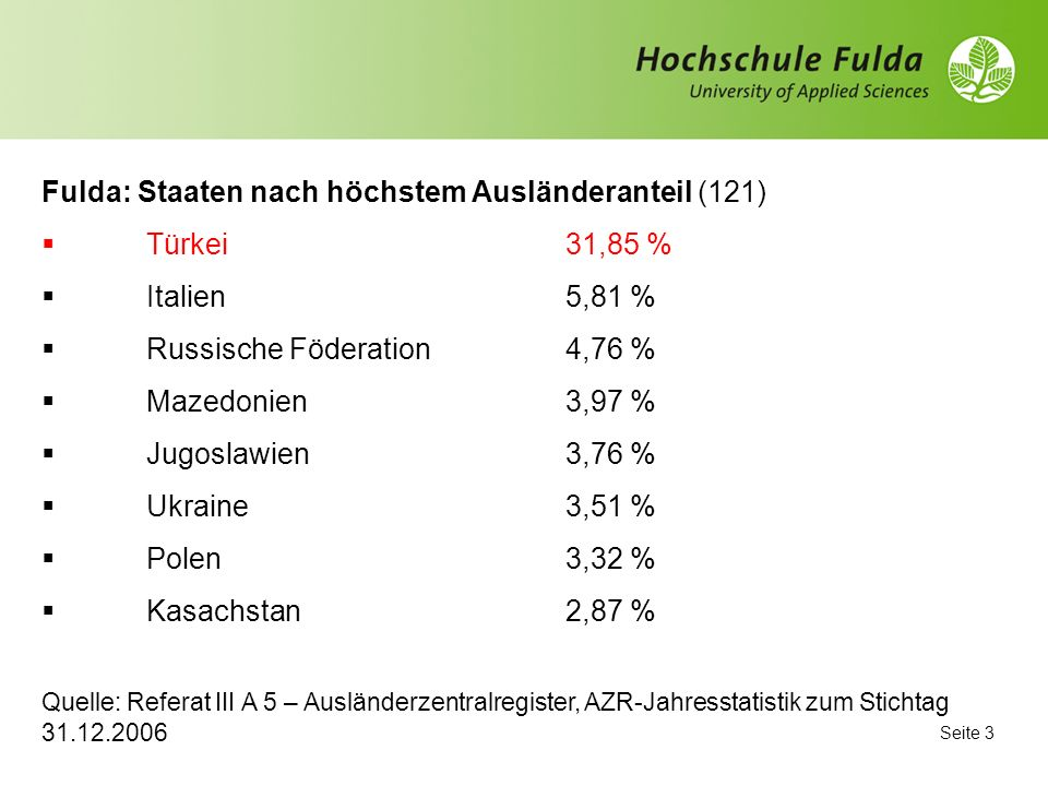 Fulda: Staaten nach höchstem Ausländeranteil (121) Türkei 31,85 %