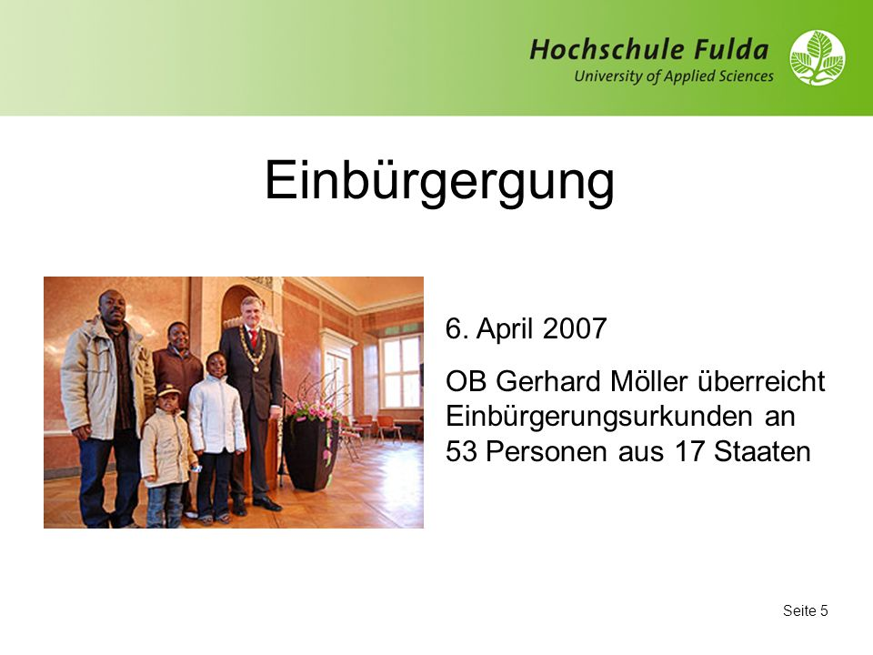 Einbürgergung 6. April 2007.