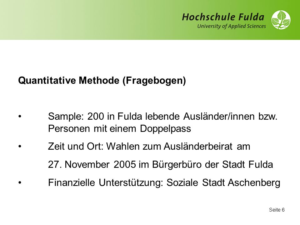 Quantitative Methode (Fragebogen)
