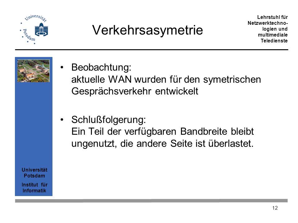 Verkehrsasymetrie Beobachtung: aktuelle WAN wurden für den symetrischen Gesprächsverkehr entwickelt.