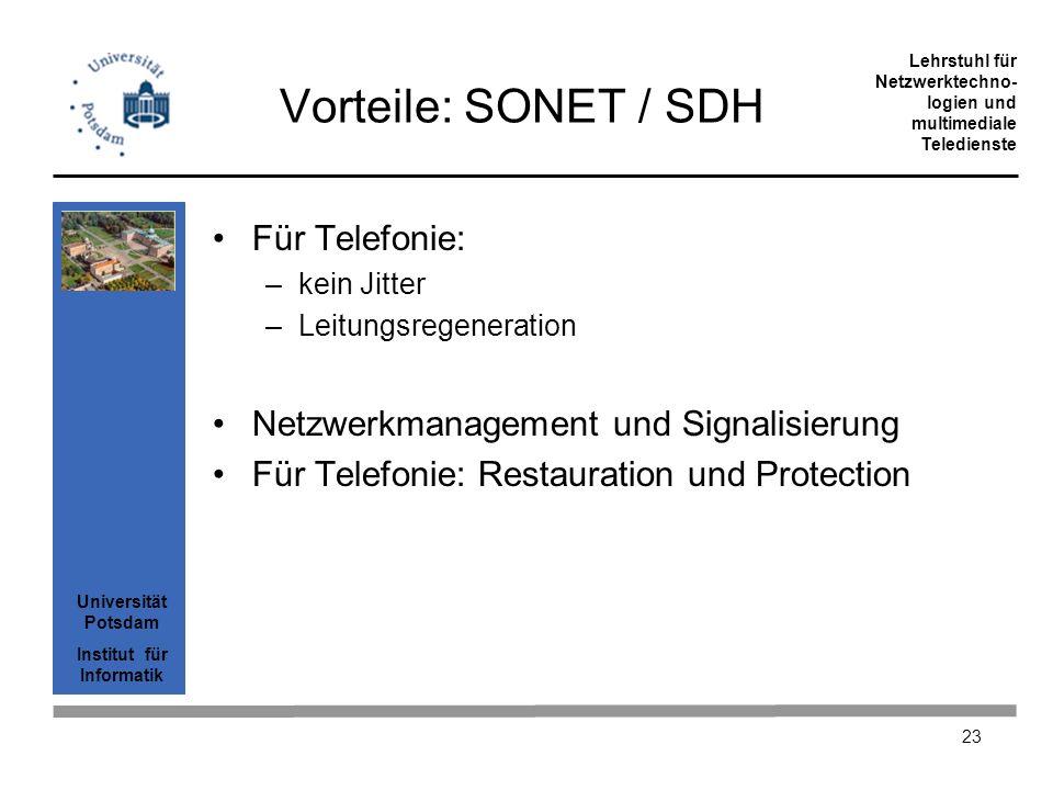 Vorteile: SONET / SDH Für Telefonie: