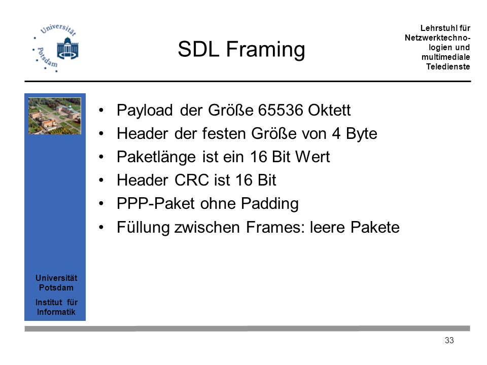 SDL Framing Payload der Größe 65536 Oktett