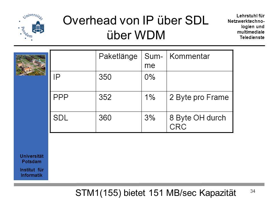 Overhead von IP über SDL über WDM