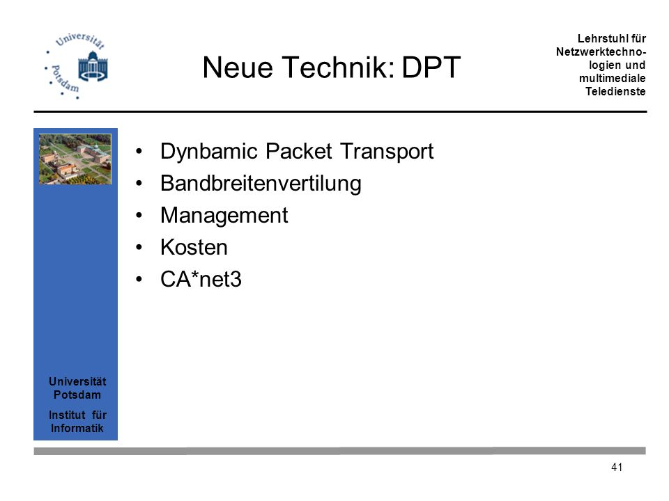 Neue Technik: DPT Dynbamic Packet Transport Bandbreitenvertilung