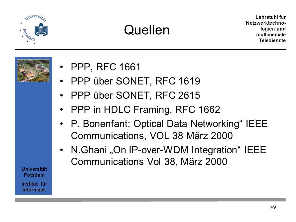 Quellen PPP, RFC 1661 PPP über SONET, RFC 1619