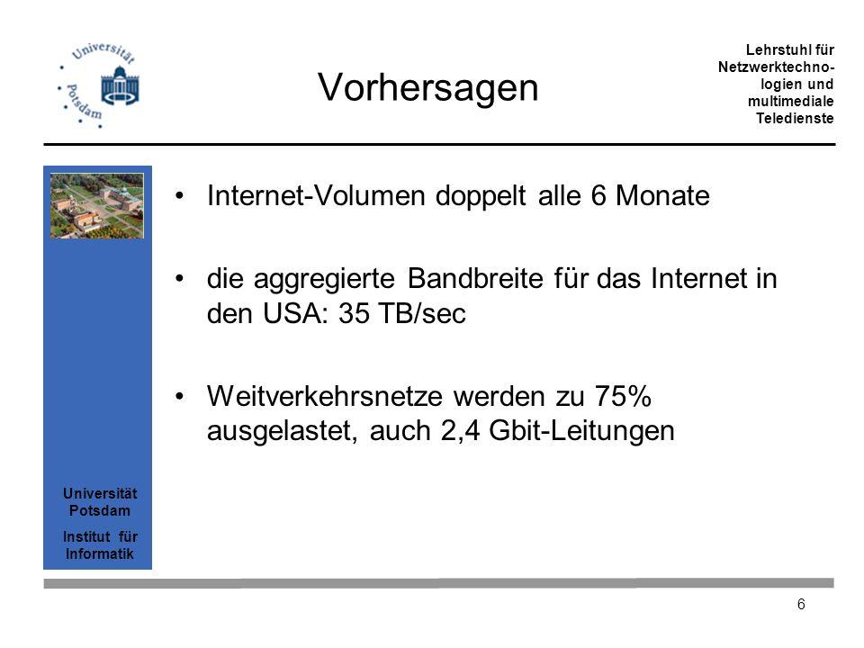 Vorhersagen Internet-Volumen doppelt alle 6 Monate