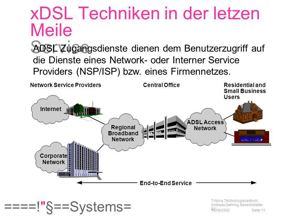 xDSL Techniken in der letzen Meile Service
