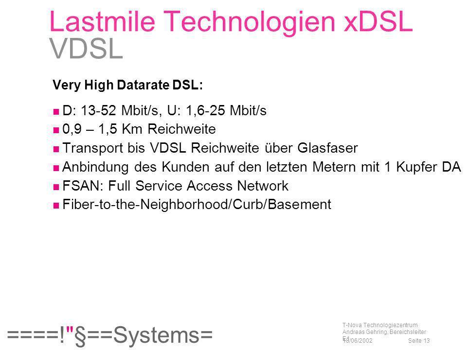 Lastmile Technologien xDSL VDSL
