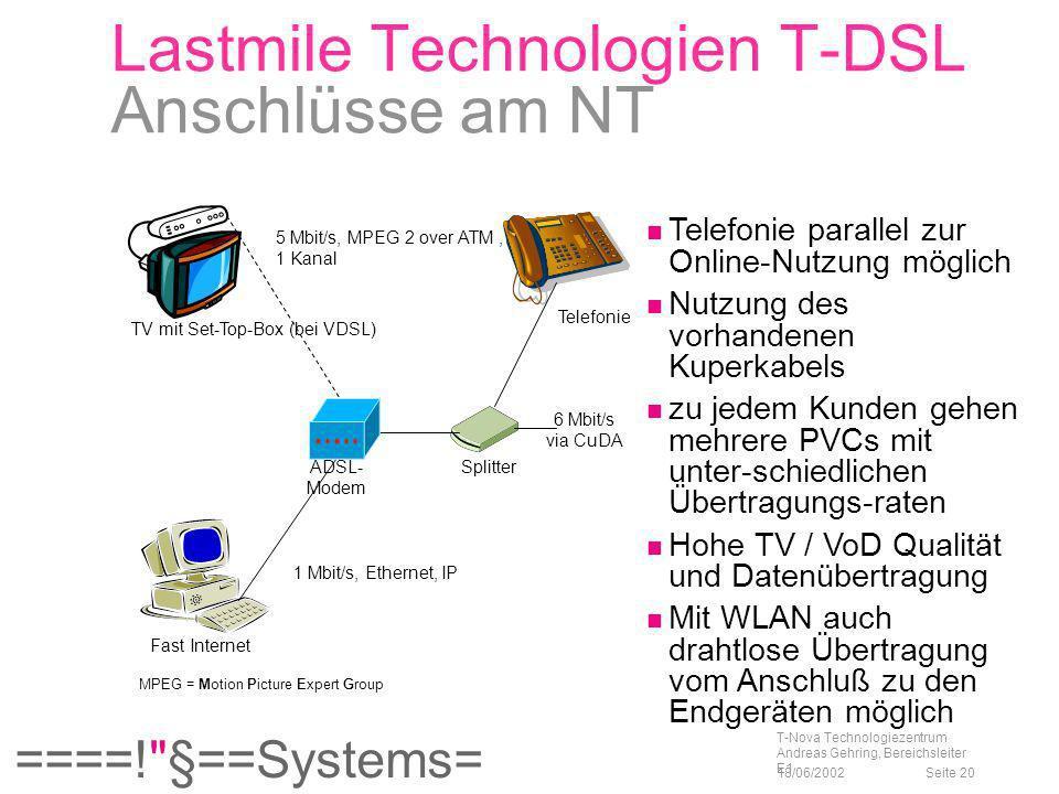 Lastmile Technologien T-DSL Anschlüsse am NT