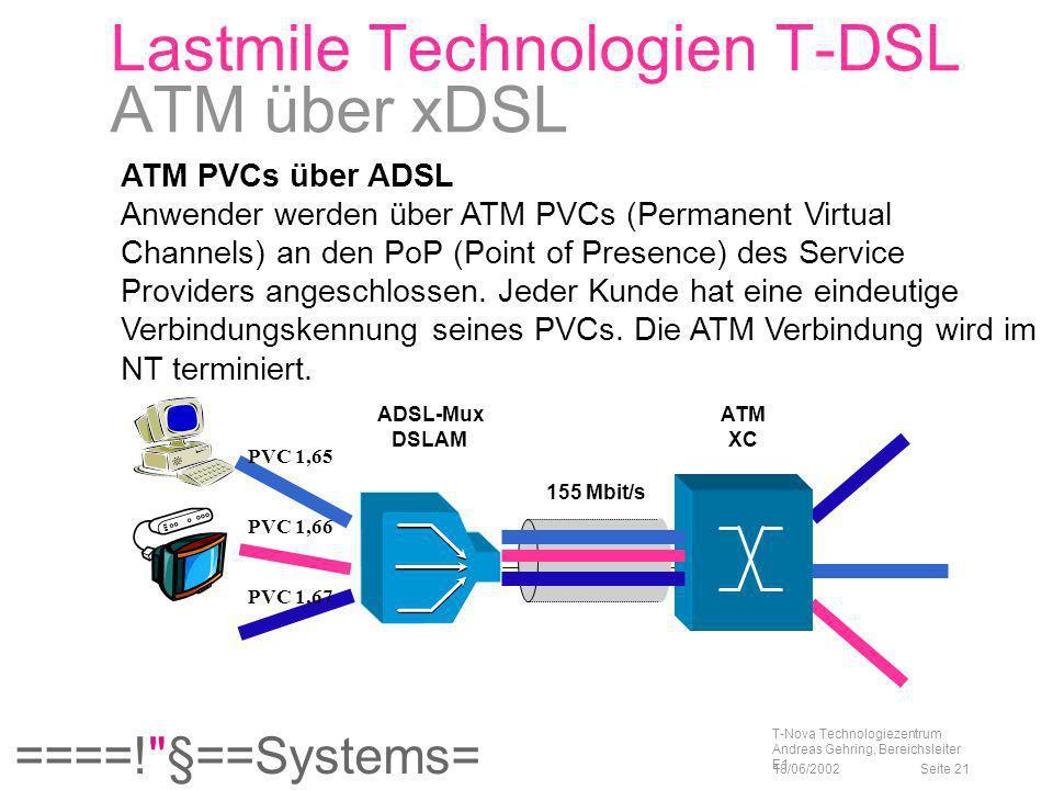 Lastmile Technologien T-DSL ATM über xDSL