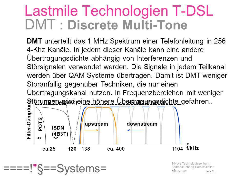 Lastmile Technologien T-DSL DMT : Discrete Multi-Tone