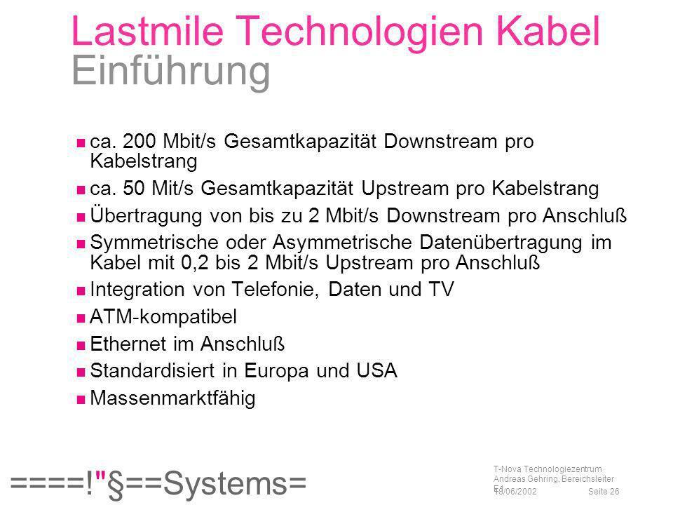 Lastmile Technologien Kabel Einführung